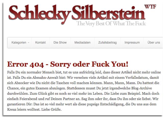 Schlecky Silberstein und ihre Maßnahme gegen die Abzocker